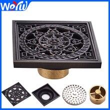 Bathroom Floor Drain Cover Square Brass Black Toilet Sink Floor Waste Grates Shower Linear Covers Tile Insert