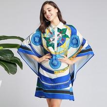 2019 סתיו אופנה גלימת שמלה באיכות גבוהה די תורו למטה צווארון נשי רופף פאייטים שמלה