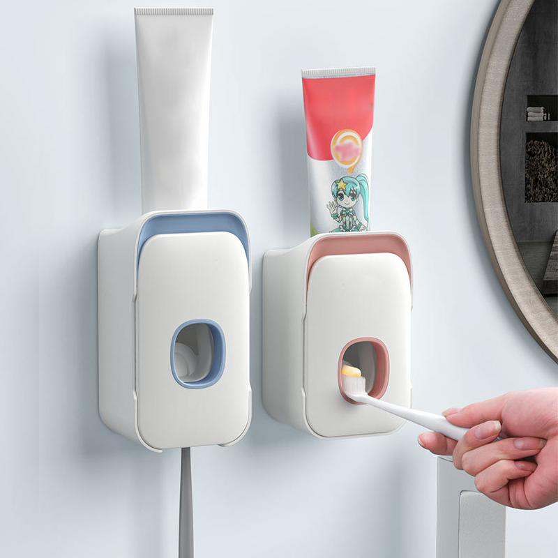 Automatic Toothpaste Dispenser Wall Mount Toothpaste Squeezer Stand Toothbrush Holder Rack Bathroom Accessories