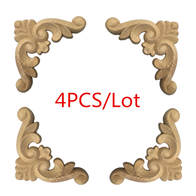 4 Pcs Wood Carved Corner Onlay Applique Frame for Home Furniture Wall Cabinet Door Decor CraftsMINI Letras Decorativas 1