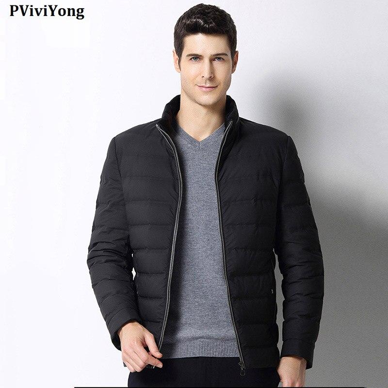 PViviYong 2019 Winter hohe qualität weiße ente unten jacke männer, stehkragen kurze absatz zipper parka Mantel männer 1690 - 2