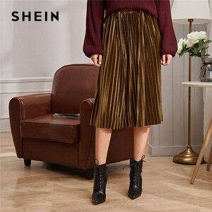 Image 5 - SHEIN однотонная плиссированная бархатная Гламурная юбка женская нижняя часть зимняя уличная Высокая талия Осенняя Элегантная Дамская базовая юбка миди
