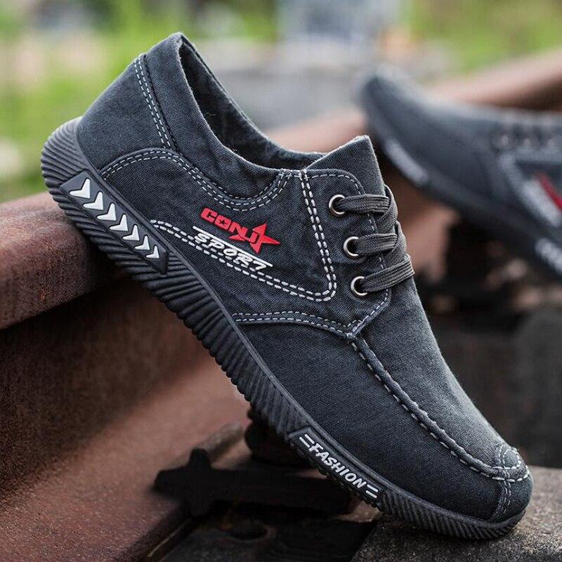 Men shoes 2020 spring men canvas shoes flat casual shoes lace up comfortable breathable shoes man flats size 39 - 44 3