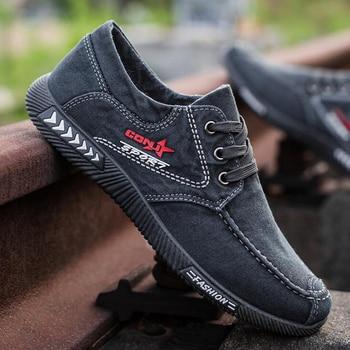 Men shoes 2021 spring men canvas shoes flat casual shoes lace up comfortable breathable shoes man flats size 39-44 3