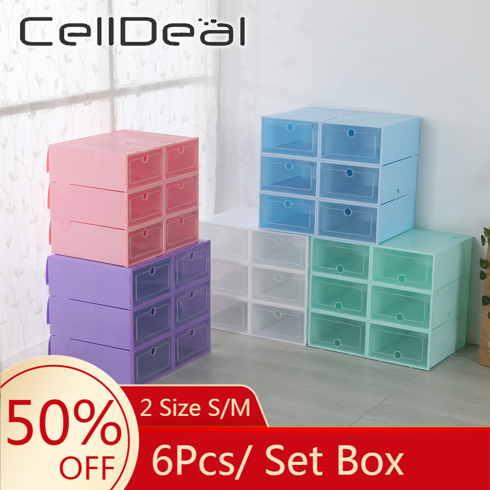6Pcs/Set Foldable Shoe Box Transparent Plastic Shoe Rack Storage Bins Drawers Combination Flip Cover Room Organizer Shoe Hanger