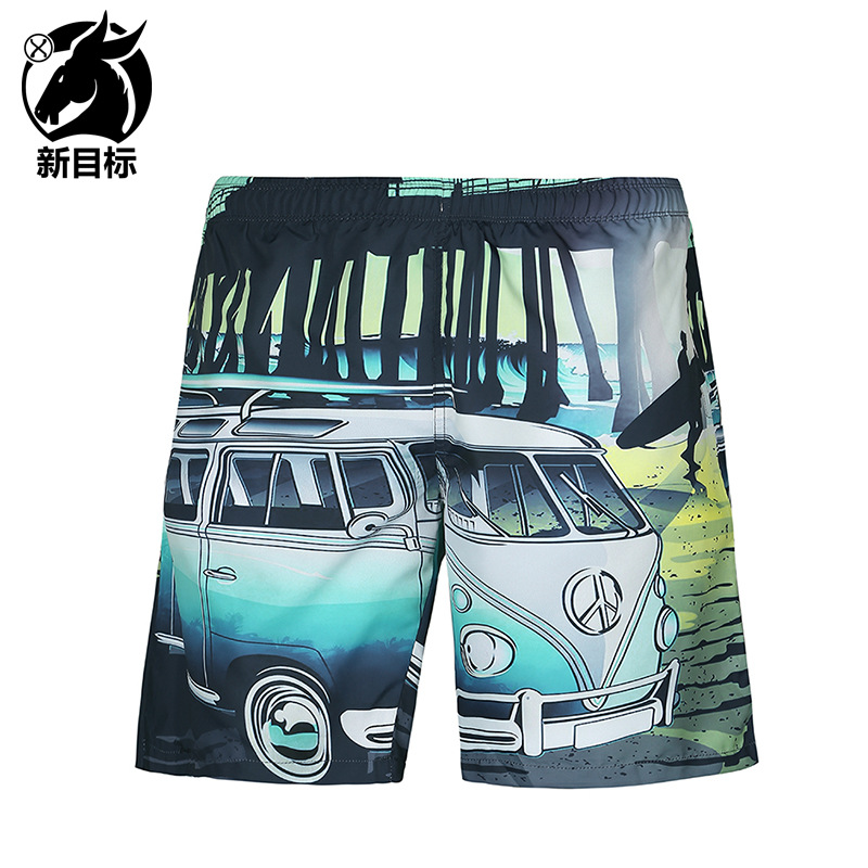 Summer New Style Men'S Wear Popular Brand Swimming Trunks Cartoon Bus Car 3D Printed Beach Shorts Fashion Shor