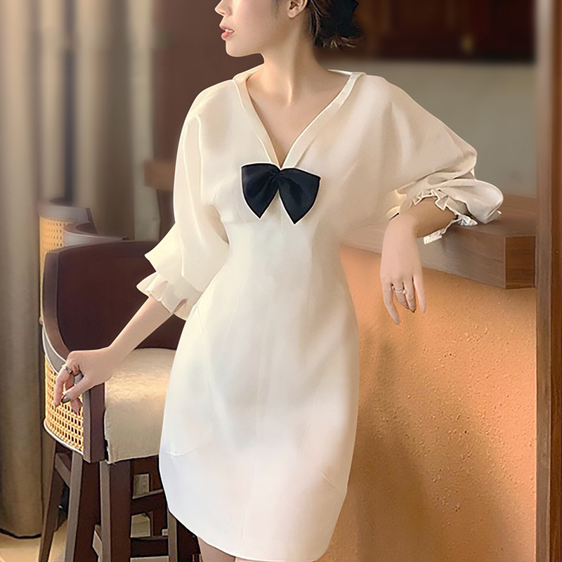 Women's Dress Spring New V-neck Bow Five-point Sleeve Female Dress Fashionable Elegant Slim Ladies Dress Wedding Banquet Dress
