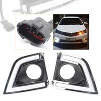 2Pcs Car LED Daytime Running Light DRL Lamp Turn Signals Fog Light For 2014 2015 Toyota Corolla White+Yellow Lights