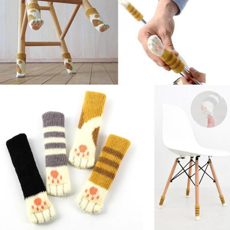 8pcs/lot Cute Paw Chair Socks Anti Slip Cotton Chair Leg Caps For Feet Pads Furniture Table Chair Leg Protector Stoelpoot Doppen