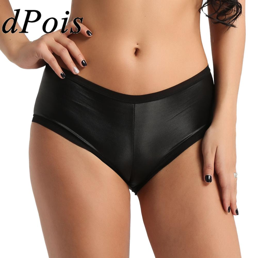 Stretchy Sexy Panties Women Underwear Faux Leather Briefs for Lady Bikini 2019 Pleated Back Wet Look Shorts Cosplay Underpants