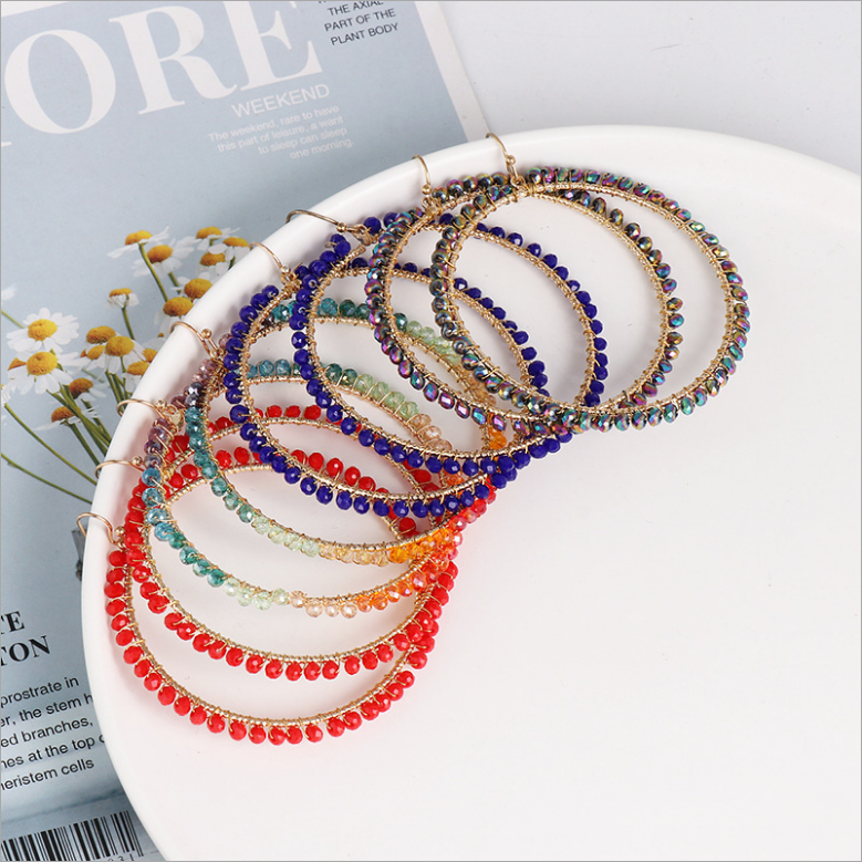 Bohemian Fashion Hollow Round Drop-shaped Pendant Earrings Exaggerated Hand-woven Crystal Beads Earrings For Woman New Hot Sale