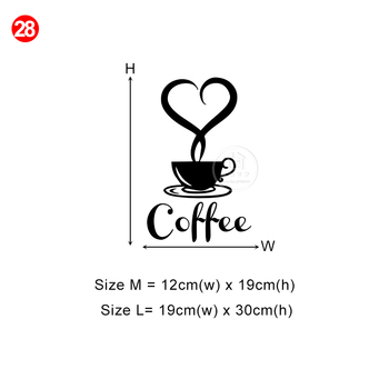 28 styles Coffee Wall Stickers Vinyl Wall Decals Kitchen Stickers English Quote Home Decorative Stickers PVC Dining Room Shop 19