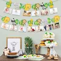 Cartel de cumpleaños para niños, adornos para fiesta de cumpleaños Tropical Wild One 2nd Years, decoración para Baby Shower