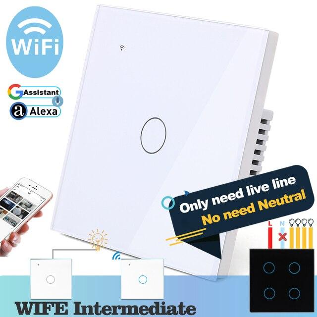 (필요 없음 중립) 와이파이 터치 라이트 벽 스위치 화이트 유리 블루 LED 스마트 홈 전화 컨트롤 1 갱 2 웨이 알렉사 구글 홈
