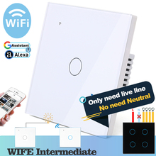 (No need neutral) WIFI Touch Light Wall Switch White Glass Blue LED Smart Home Phone Control 1 Gang 2 Way Alexa Google Home