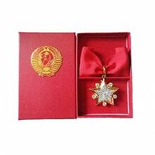 절묘한 전 소련 원수 스타 CCCP 군사 명예 메달 소련 영웅주의 특별 배지 손 상감 지르콘 빛나는 선물