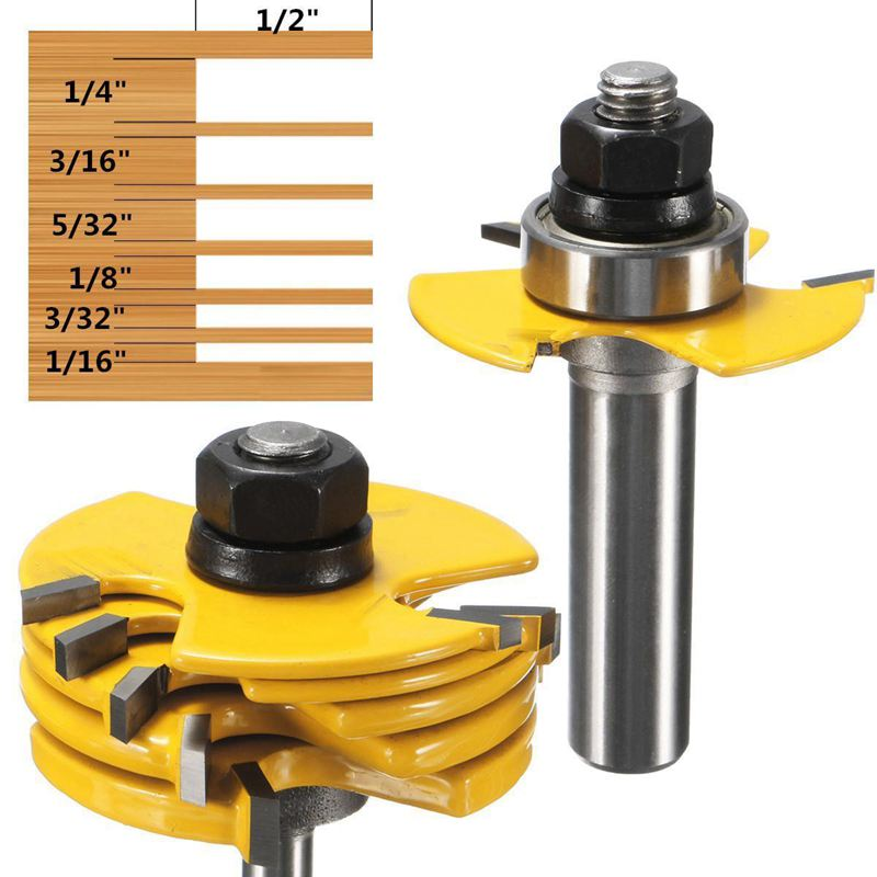 New 2Pcs Slot Cutter 3 Wing Router Bit 1/2 &1/4 inch Shank Adjustable Woodworking Tool