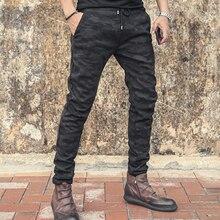 Thickened Plush inner elastic waist men's slim micro elastic pants