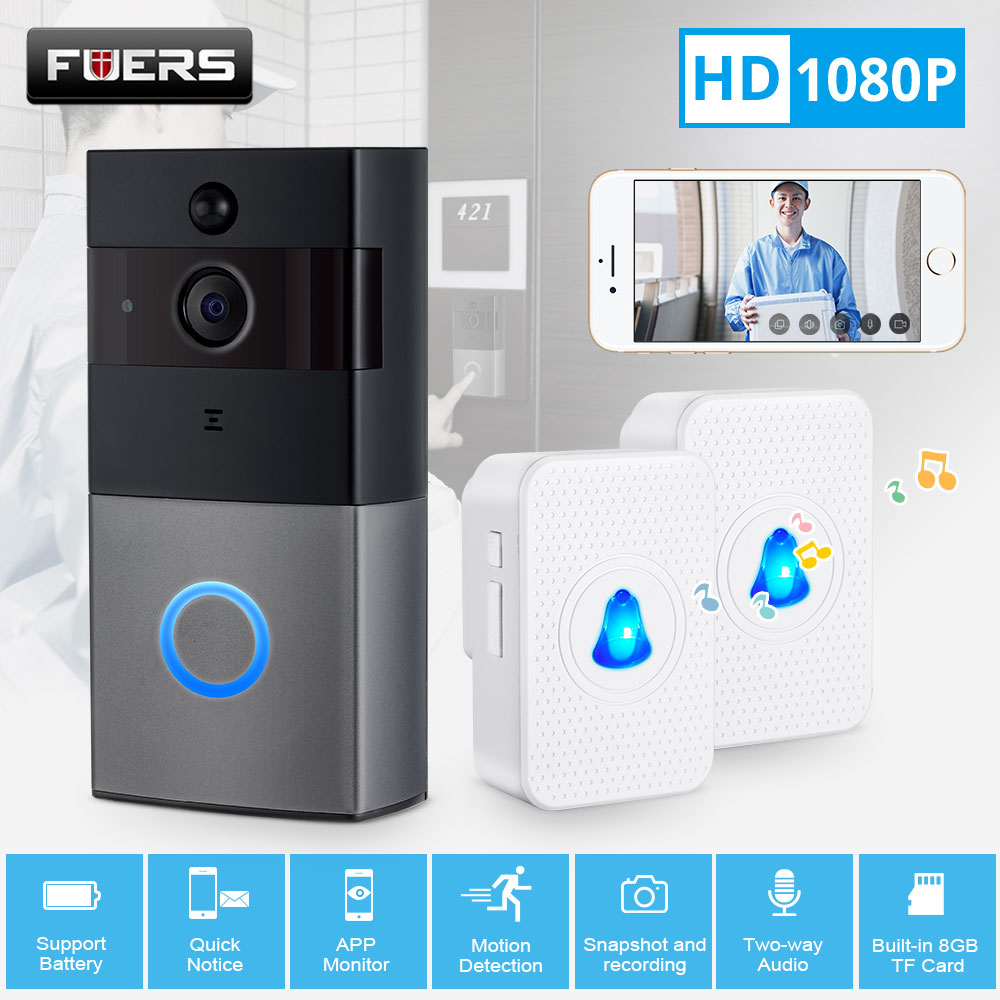 FUERS Wireless WiFi HD 1080P Video Doorbell  Home Security PIR Motion Detection Remote Intercom 6 LED APP Message Push Door Bell