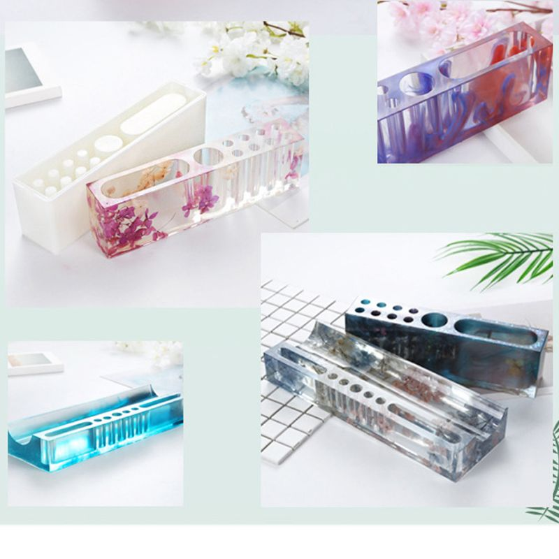 Multi-Functional Pen Holder Resin Molds Storage Box Pencil Holder Silicone Mold AXYF