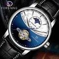 Forsining  Классические деловые часы с голубой фазой Луны  автоматические Tourbillon  мужские часы из натуральной кожи  мужские часы  Прямая поставка