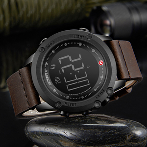 Image 4 - KADEMAN Militär Sport herren Uhr Digital Display Wasserdichte Schritt Zähler Leder Uhr Top Luxus Marke LED Männlichen Armbanduhren