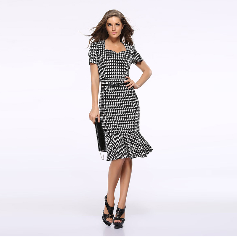 Formal Summer New Pencil High Waist Office Clothing 2020 Dresses Female Fashion Plaid New Dress Dresses Women Mini Short Sleeve