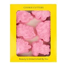 6 Pcs/box Pink 3D Unicorn Cookie Mold Children's Craftsmanship Mould Kitchen Baking Pastry Bakeware Tool