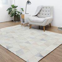 Nordic Style Pure Cowhide Carpet Geometric Jigsaw Rug Living Room Bedroom Tea Table Carpet Pure Handmade Splice Carpets
