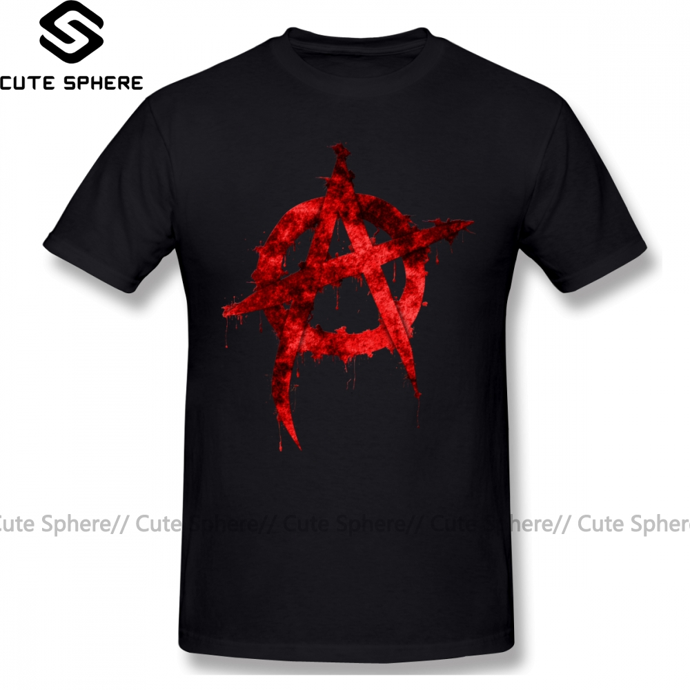 Anarchy T Shirt Anarchy T-Shirt Short Sleeves Streetwear Tee Shirt Big 100 Percent Cotton Awesome Graphic Mens Tshirt