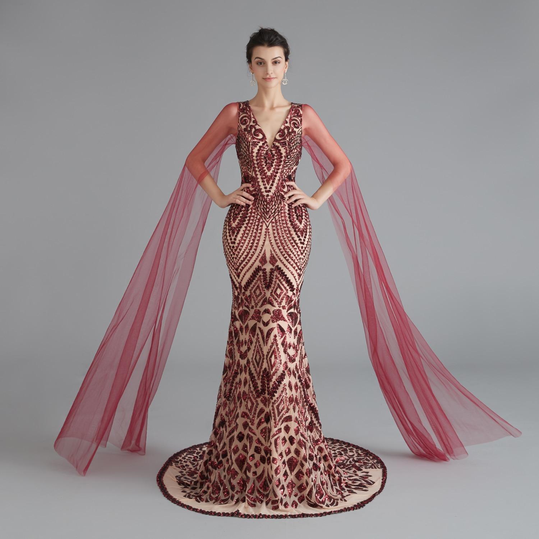 Women's Evening Long Formal Dress 1920s Sequin Lace Mermaid V Neck Split Sleeve Flapper Party Gown Robe De Soiree Gowns Saudi