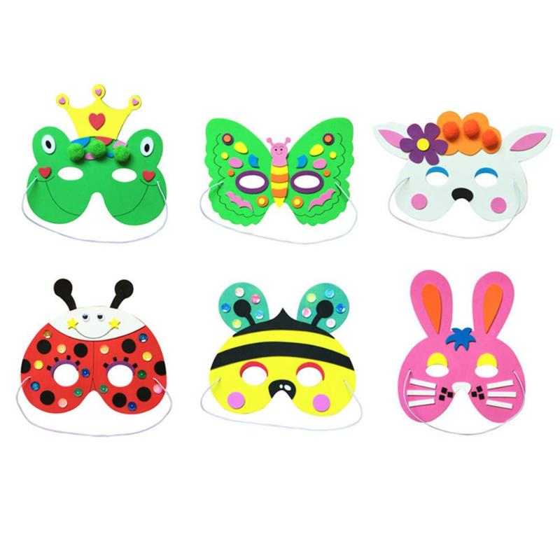 Children's EVA Cartoon Mask Kindergarten DIY Animal Bag Sponge Glue Handmade Party Mask Develop Thinking And Creativity