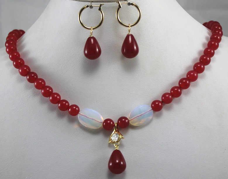 Hot verkoop nieuwe-2 stijlen! Groothandel 8mm licht groen/rode steen noble ketting + l haak stone earring & hanger ketting sieraden set