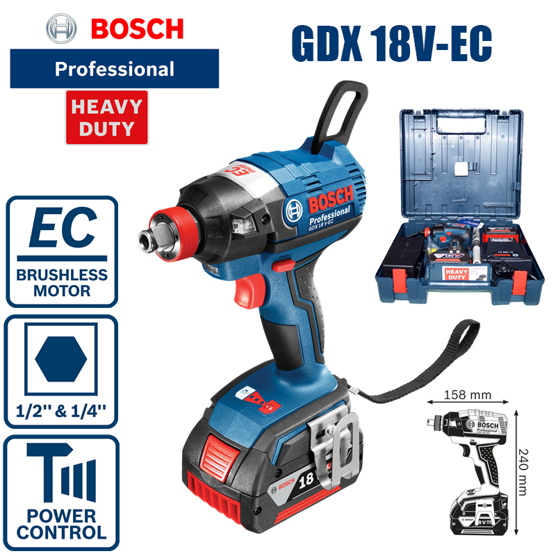 Bosch GDX 18V EC rechargeable brushless lithium battery screwdriver, impact driver, wrench machine dual use (two 4A batteries)|Electric Drills|   - AliExpress