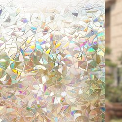 3D No Glue Static Tinted Window Film Privacy Window Rainbow Films for Stained Glass Self-Adhesive Film Glass Window Sticker HTV