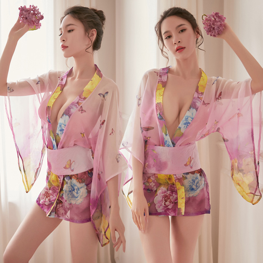 Women's Robe Transparent Pajamas Japanese Sexy Lingerie Yukata Dress Chiffon Kimono Sauna Spa Bathing Robe Sleepwear Nightgown