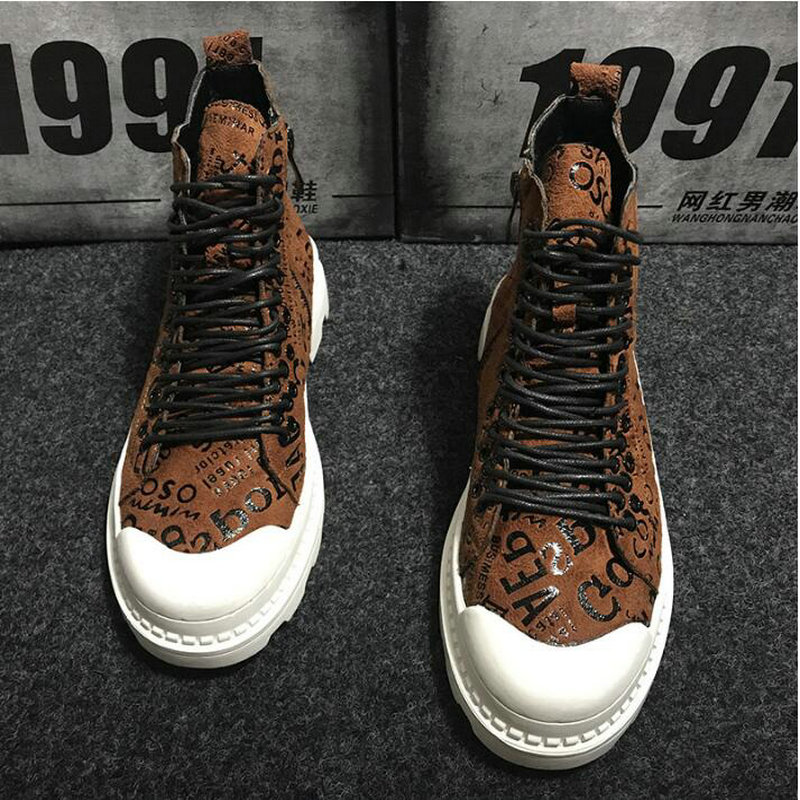 2019 Autumn Winter  Fashion Lace-up Warm Boots Platform High Top Sneakers Shoes Boots Men Vintage Letter Casual Shoes VV-16