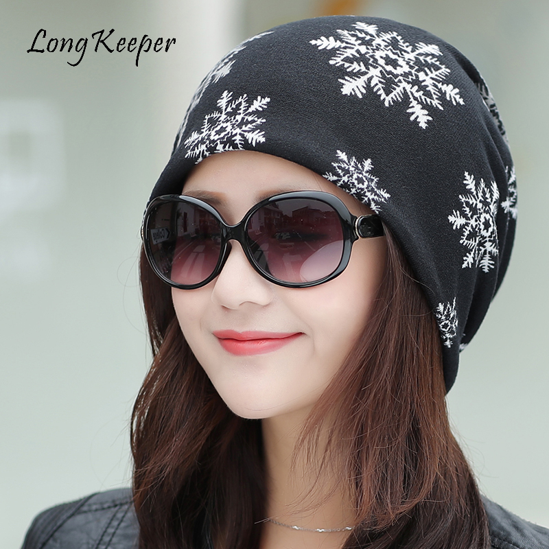LongKeeper Brand New Female Beanie Hat Casual Polyester Scarf Caps For Ladies Skullies Girls Snowflake Winter Hats For Women