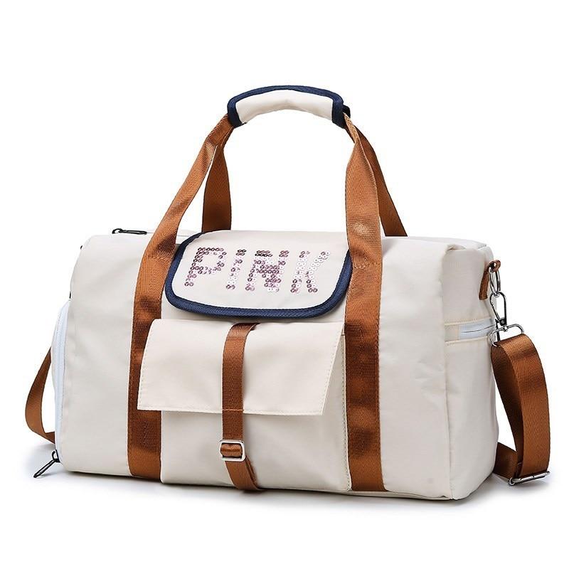 Men's Large-capacity Travel Bag Ladies Clothes Bag Soft Sequin Shoulder Bag Pink Letter Duffle Malas De Viagem Packing Cubes
