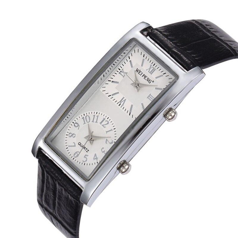 Big Dial Watches Business-Watch Classic Dual-Movement Rectangle Strap Quartz New-Fashion