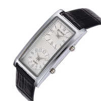 Nouvelle montre d'affaires de mode double mouvement hommes grand cadran montres classique Rectangle montre-bracelet à Quartz bracelet en cuir montres homme