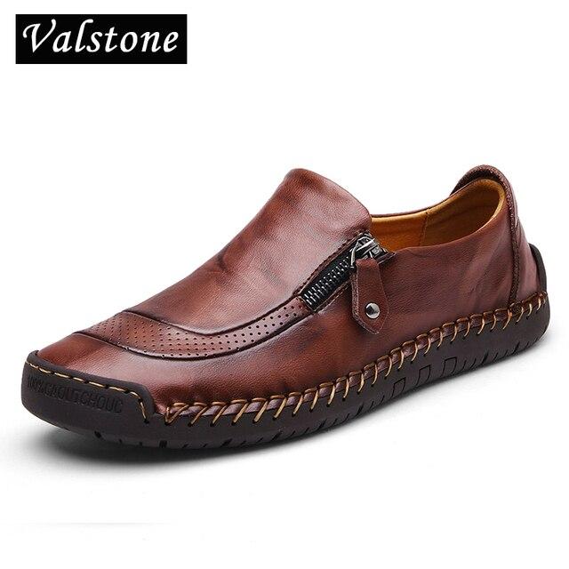 Valstone zapatos informales de cuero para hombre, mocasines hechos a mano, mocasín vintage sin cordones, planos de goma, antideslizantes, con apertura de cremallera, de talla grande 38 48
