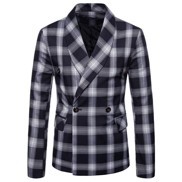 2019 Autumn Men Casual Shawl Collar Double Breasted Suit AliExpress Plaid Slim Fit Suit Formal Dress Men's
