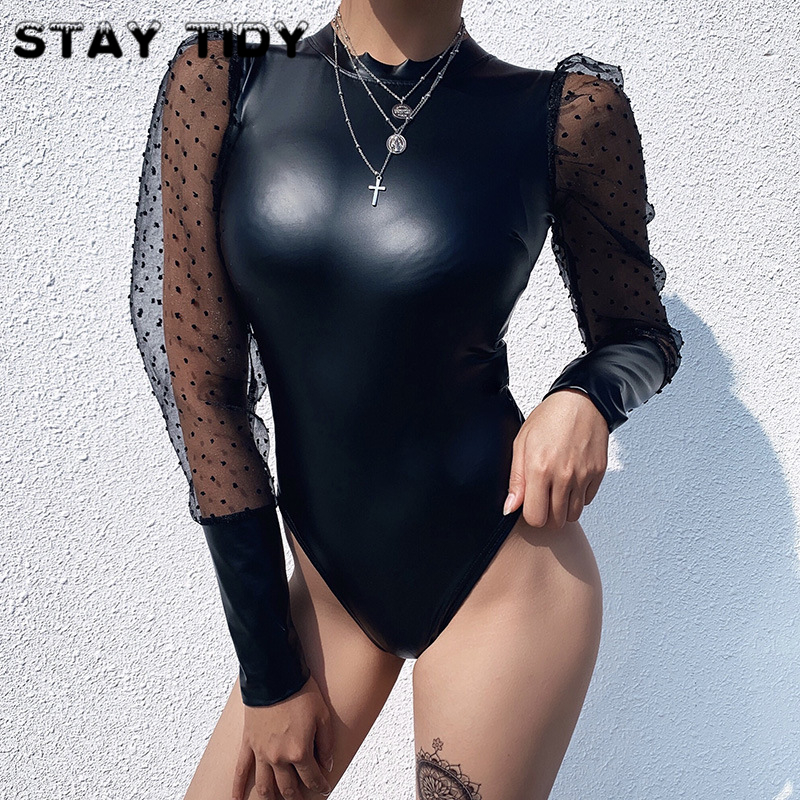 STAY TIDY Sexy Mesh Print Patchwork PU Leather Bodycon Bodysuits 2019 Winter Women Puff Long Sleeve Black Party Streetwear Body