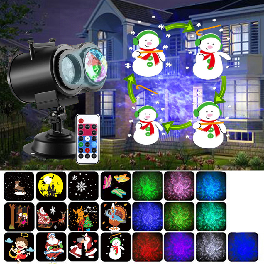 Thrisdar 12 Slide Christmas Animation Projector Light With Remote Dynamic Picture Lawn Lamp Oceam Water Wave Projector Spotlight