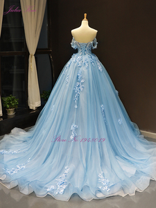 Image 2 - Julia Kui Gorgeous Ball Gown Wedding Dress Sky Blue Color With Elegant Appliques 3D Flowers Wedding Gown Off The Shoulder
