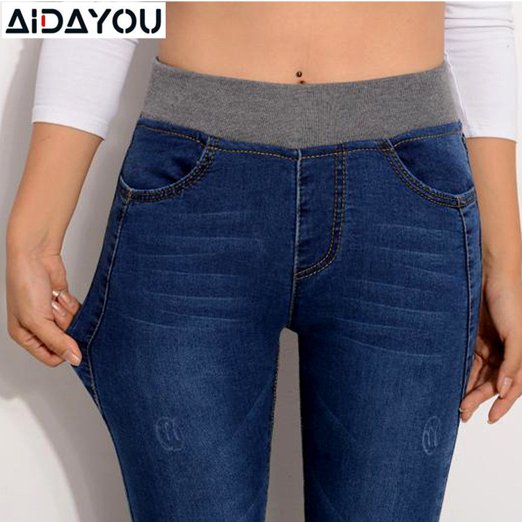 Women Casual Jeans High Waist Elastic Waist Pencil Pants Fashion Denim Trousers Plus Size 5XL 6XL Spring Summer Mom Jeans Ouc549