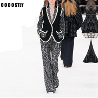 Women Tweed Set Pant Suits 2 Piece Sets Office Lady Tweed Blazer Jacket +Trousers Suit For Women Set Feminino