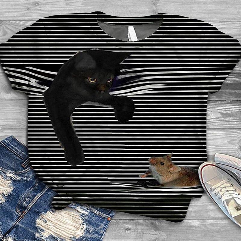 3D Striped Cat T-Shirt