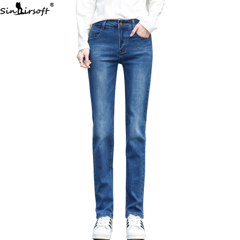 2019 Autumn New Cotton Stretch Soft Slim Slimming High Waist Jeans Women Fashion Trend Casual Wild Straight Denim Pants Woman